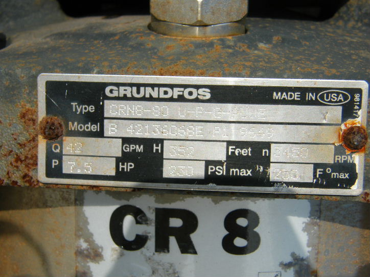 Grundfos Vertical Stainless Steel In line pump. Type CRN8-80 U-P-G-AUUE.  model B 42136068E P1 9649. Driven by 7.5 HP, 208-220/440 volt, 3450 RPM motor.