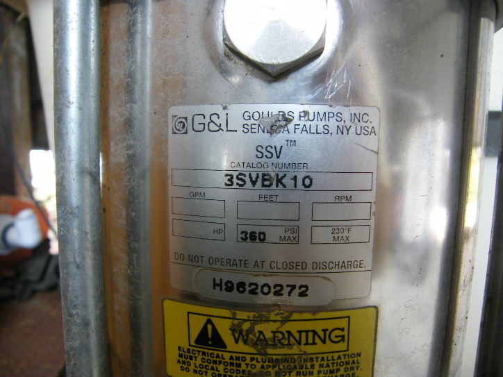 Goulds SSV Vertical Stainless Steel in line pump. Catalog # 3SVBK10. Model SSV. 360 PSI. 3 HP, 1725 RPM, 230/460- volt motor.
