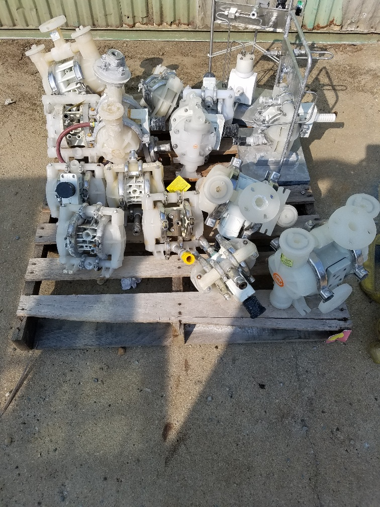 Various sizes of poly air diaphragm pumps.  Wilden, Yamada, Warren Rupp, Sandpiper.  Please call a sales rep 856-299-4500 OR email sales@ecrecon.com with your requirements or to discuss.