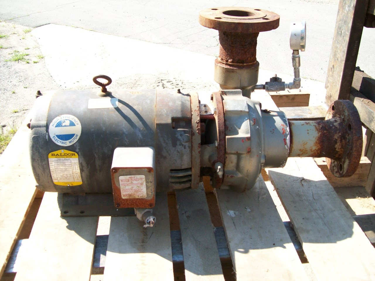 Scot pump Powered by 15hp Baldor motor, 3450 rpm, amps-38-36/18, 208/230/460, frame-215JM, S#F1190, spec-37F196X48, cat#-JMM3314T
