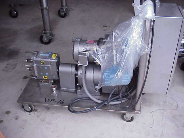 (1) Stainless Steel, rotary lobe, Waukesha Sanitary Pump.  Size 30.  Vari-drive (varible speed) motor, 2 HP, 200-230/460 V, 1710 RPMi, 45.2 - 452 RPMo, ratio 9.46:1.  Has Allen Bradley control panel.  Portable on wheels.  Missing head.  (can be sold in parts, Waukesha Parts)