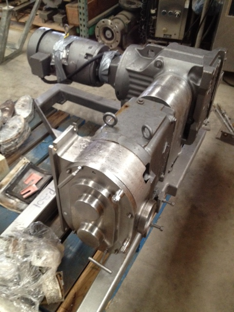 used Waukesha model 224 pump. 10 HP, 208-230/460 volt, 1725 RPM motor into 62.55:1 reducer for 27.5 RPM output for approx. 15 GPM. The max capacity for a 224 model is Nominal capacity: 200 gpm. Displacement per revolution: 0.522 gal. Maximum speed: 400 rpm. Specifically designed to pump \