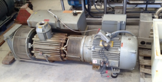 ***SOLD***Used Busch Vacuum Pump. Model R5-630.Type RC0630.B4Z6.1103. Serial# U050700837 Rated 490 CFM at 15 Torr. Allen-Bradley Control panel. Baldor Motor 25HP.  21,236 hrs. Dry type.