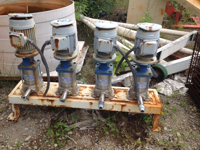 (4) Each used Iwaki DP pumps. model DPL-04SASA-05-22D-6. Driven by 2.2 KW, 230 volt, 3460 RPM, 60 cyc. drives. Sold each.