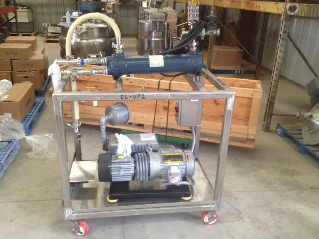 ***SOLD***used BUSCH model RA0100.E506.1001 Vacuum pump with Heat Exchanger (condenser). Rated 63 CFM and 0.5 TORR Vacuum. Has 5 HP, 230/460 volt, 1750 rpm, 3 ph motor. Has ITT p/n 5-160-05-024-004 heat exchanger (~5