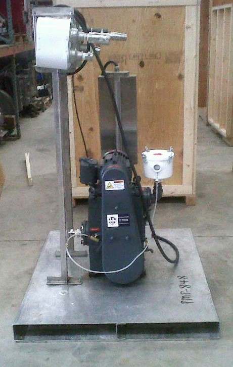 ***SOLD*** US Vacuum model RP-35 Rotary Piston Vacuum Pump and high efficiency condenser. Rated 37 CFM, 0.010 Torr. 2