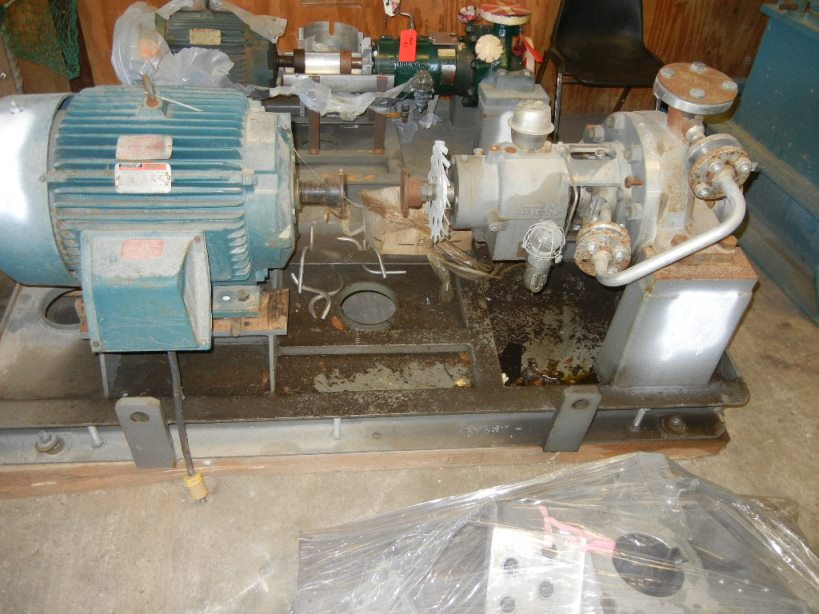 ***SOLD***Flowserve model 2HPX10 Stainless Steel pump. rated 252 GPM @ 262 Ft.Hd. 3x2x10. Test 900 PSI WP 600 PSI. Has 40 HP, 3560 rpm, 460 volt, 3 ph, 60 cyc. motor.