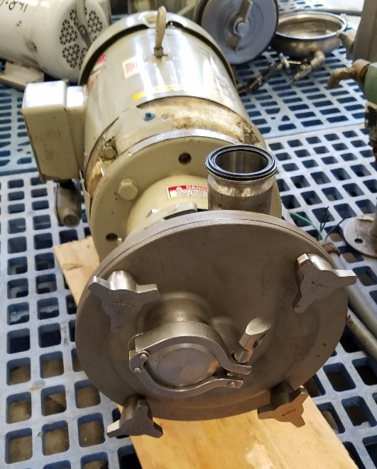 FRISTAM Sanitary centrifugal pump Model FZX2200. Self Priming. driven by 10 HP, 1760 RPM. Stainless Steel. Previously used in sanitary food and beverage plant.