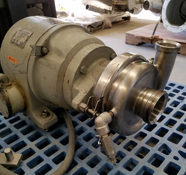 CHERRY BURRELL sanitary centrifugal pump Model VBH, driven by 7.5 HP, 3600 RPM motor. Stainless Steel pump. Previously used in sanitary food and beverage plant.