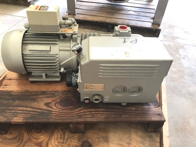 ***SOLD*** Busch vacuum pump, Vane rotary type, RC0100.A005-1102, S/N C20733. Displacement 63 CFM, vacuum is 15 torr, 5 HP, 208-230/460 volt, 1730 rpm, 3 phase drive. Appears UNUSED.