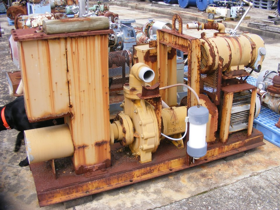 used Fybroc model 1500, 3x4x10 pump.  Material of construction VR-1.  Max pressure 200 PSI.  Mounted on base with motor.