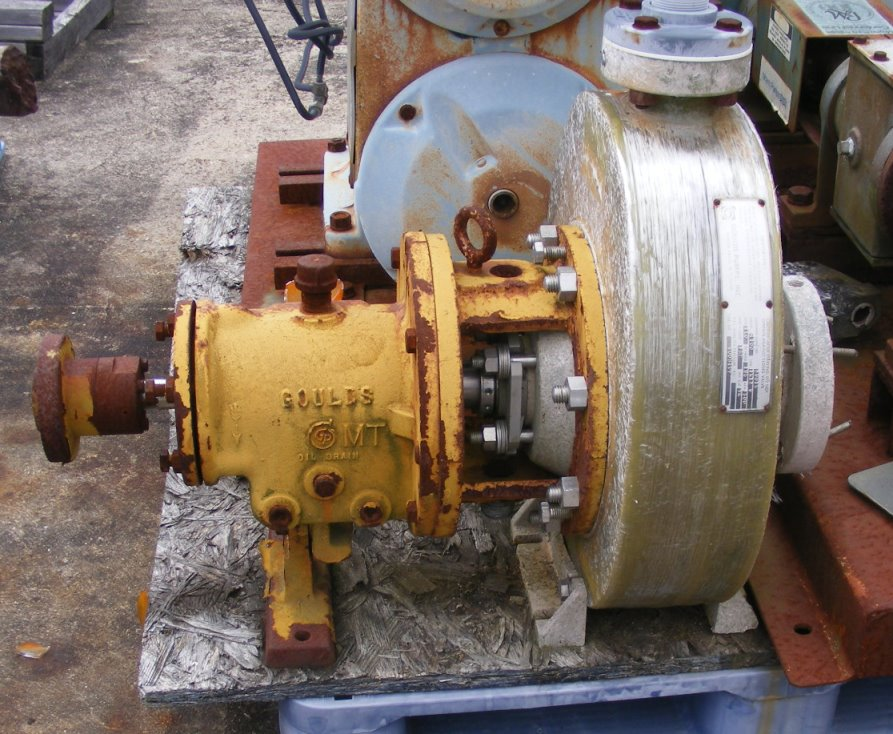 used Goulds model 4100 , 1.5x3x9 FRP pump. Rated 160 GPM @ 185 Ft.Hd.. 3500 RPM. 7-1/8