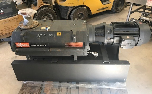 Busch Vacuum Pump model Cobra NC1000BL01. Dry Screw Vacuum pump. 590 ACFM.  0.075 Torr. 25 KW (33.5 HP) 220 volt, 3530 rpm, 3 Ph motor. S/N C1521000462.  Vmax 1000m3/h.  Unit hooked up but never started due to plant shut down.