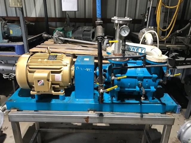 ***SOLD*** used Kinney Model KLRC-200-FA2 Liquid Ring Vacuum pump. Rated 192 CFM @ 200 Torr.  Cast iron casings, SS316L impellers& SS316 shaft.  Has 15 HP, 230/460 volt, 1765 rpm motor.