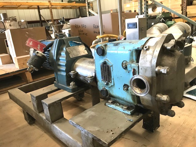 used Waukesha Cherry-Burrell Positive Displacement Pump Model 015U2 rotary lobe pump. 1.5
