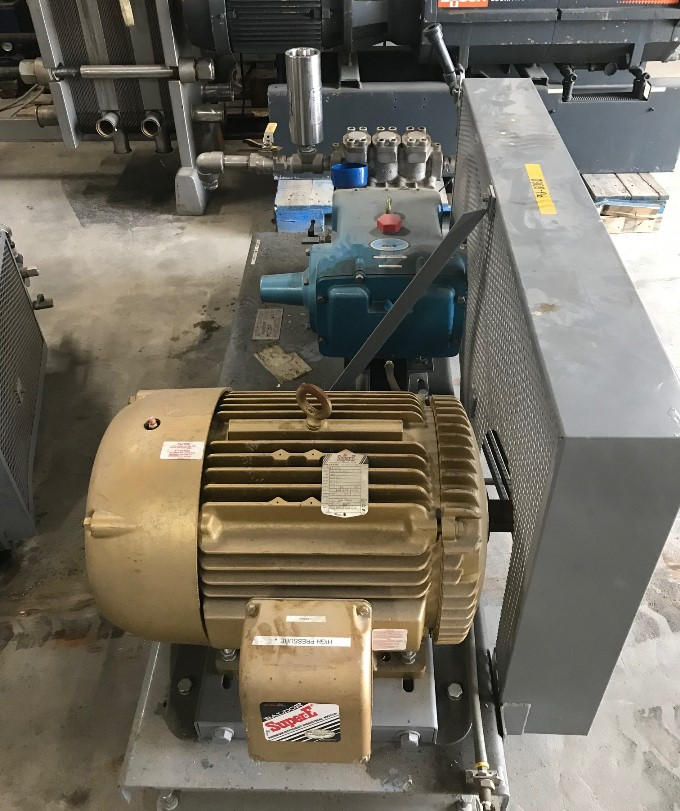 2-used Cat Pumps model 6761 high pressure triplex positive displacement, reciprocating plunger pump. 316 Stainless Steel. 2