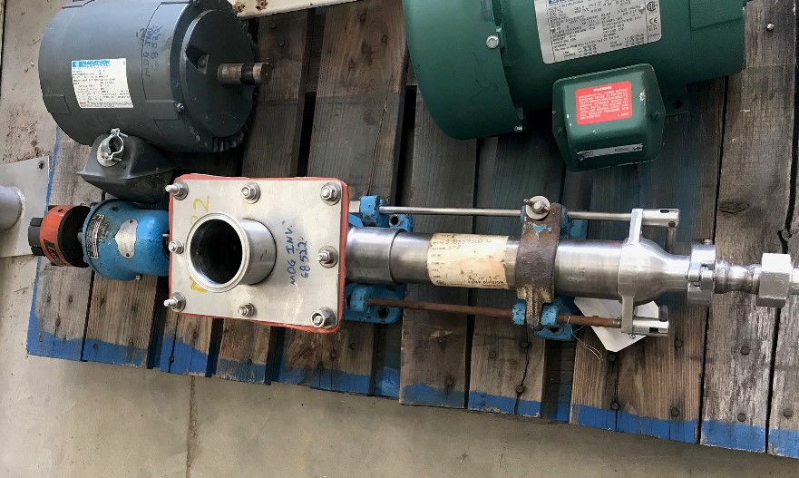 used Moyno Sanitary Pump Model SSQ 2FGJ3. Inlet is 8