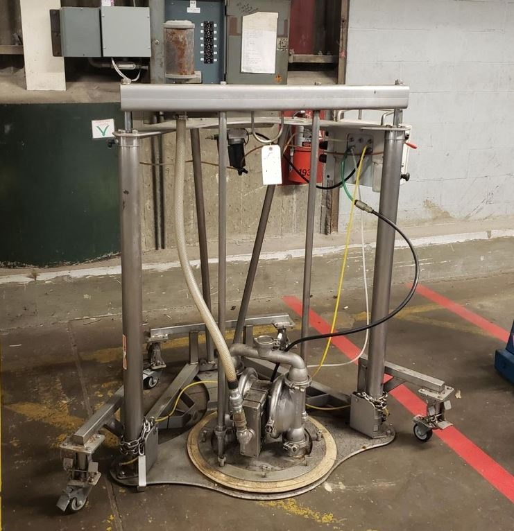 Used Wilden Saniflo Drum Unloading System/Pump. Has Stainless Steel 1.5