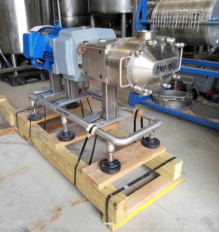 used Waukesha Cherry Burrell Model 220U2 Positive Displacement Pump. S/N 369821-04. Sterling 20 HP, 1755 RPM Motor, 230/460 Volts, 3 Phase motor into cast Stainless steel gearbox. Aprox. 4