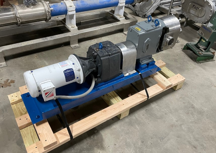 Used Waukesha Model 130 Rotary Lobe Pump. Positive Displacement Pump.  Has Jacketed Cover Plate. S/N 10253-SS, With Baldor 3 HP Motor. Last used in food plant.