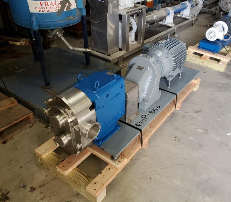 used Waukesha Cherry Burrell Model 220 Rotary Lobe Positive Displacement Pump. 230/460 volt , 1765 rpm motor int 3.4:1 gear reducer. Last used in sanitary food plant.