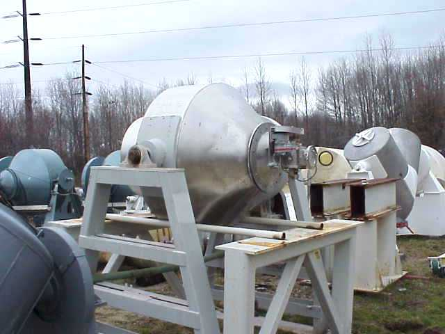 Qty. (2) Each: used 30 cu.ft. Gemco Double Cone blenders. Stainless Steel. Rated 125 lbs/cu.ft.. 13.4 RPM blend speed.  4