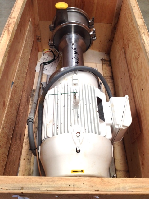 ***SOLD*** Quadro Y-Tron Model Z5 Multi-row toothed rotor-stator mixer/mill. (3) Stage unit. S/N Z5-0103. Rated up to 300 GPM. Stator gap size in 0.5mm. Driven by 40 HP, 230/460 volt, 1775 rpm, WEG inverter duty/severe duty motor. Mechanical Seal. Designed for inline, high-shear process applications such as immiscible phase emulsifying/homogenizing, wet grinding, deagglomeration and fine solids dispersing. Sanitary construction. Built in 2013. Appears to be Unused. Includes spare seal kit and bearings ($3500). Cost for new unit approx. $60,000. Quadro Ytron.
