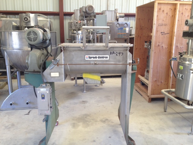 ***SOLD*** Used 3 Cu.Ft. Sprout Waldron Stainless steel ribbon blender. Model B-3. 2 HP, 230/460 volt Explosion Proof (XP) Variable speed drive. Flat Stainless Steel hinged top. 4