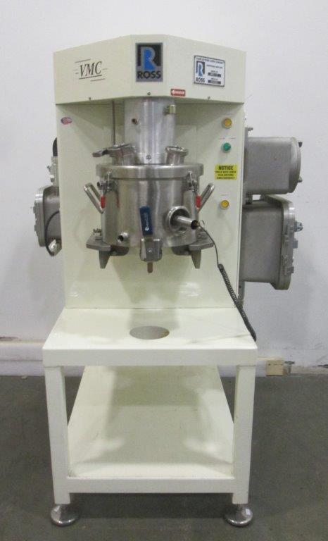 Ross VMC-2 Triple Shaft (tri-shaft) Versamixer Mixer. 316 Stainless Steel construction. Vacuum capable. 2 gallon jacketed Vacuum capable mixing can with provision for thermal couple probe (Type J). 50 PSI jacket. Sanitary 80 grit finish. Explosion proof drives and controls. Anchor agitator driven by 1HP, 230/460 volt xp motor (2) high speed dispersers each driven by 1 HP, 230/460 volt motor. Air over bowl lift/lower mechanism. Lift System: 80-100psig/ 4-5 scfm. Electrical 115V/60Hz. Included are the the unit and electrical mounted on the unit.  No main control panel included. Serial# 104930. High viscosity mixer.
