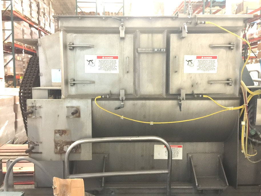 used 53 Cu.Ft. American Process Systems Paddle Blender model FZM-53 (1500 Liter) Twin Shaft Fluidized Zone Mixer/Paddle blender. 304 Stainless Steel. 30 HP 230/460 volt motor. Mixer paddles are 25 RPM. Includes Control Panel. Last used in a sanitary application in food and nutraceutical plant. As per American Process Systems, Fluidized Zone Mixers, provide quick yet gentle blending, short cycles, low operating costs, minimal product degradation and one of the highest production capacities of any other mixer type.  Unit can come with Drum Dumper and mezzanine structure for additional cost.