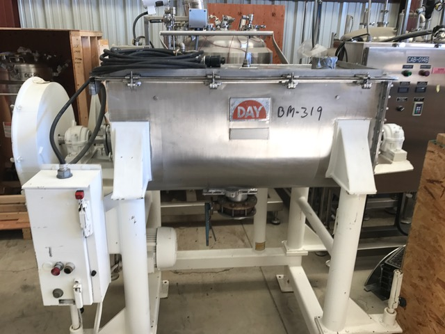 used 10 Cu.Ft. Day Ribbon Blender. Stainless Steel. Approx. Internal Dimensions: 48
