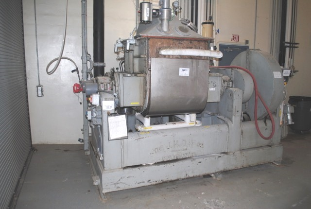 ***SOLD*** 150 Gal JH Day Double Arm/Sigma Blade Mixer. Stainless steel construction, overlapping sigma blades, jacketed bowl, vacuum cover, 60 hp 230/460 volt XP motor, screw tilting bowl with 3 hp motor drive. Includes vapor recovery system with heat exchanger and receiver pot. Last used in medical Silicone. High viscosity mixer.  Approx. 3' back to front x 3'3