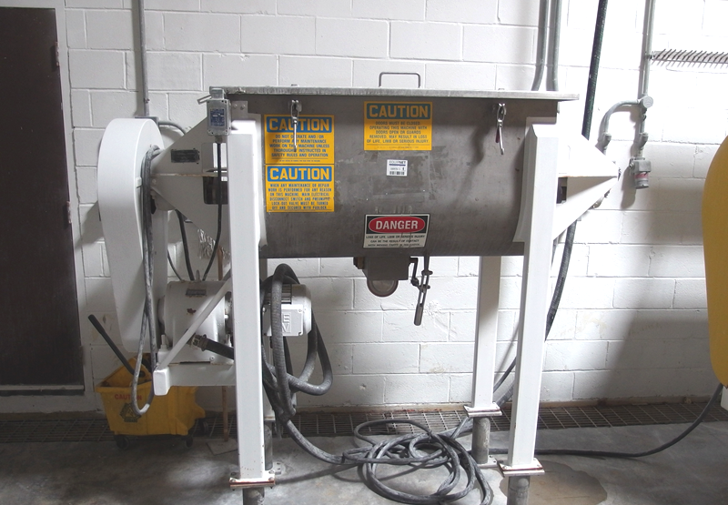 used 11 Cu.Ft. Ribbon Blender, Stainless Steel  model DRB11, built by American Process Systems. Driven by 7.5 hp XP rated motor, 1730 RPM with 11.8:1, 3,240 in lbs of torque gear reducer with 50 RPM ribbon speed. 4