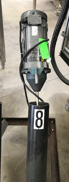 Used 1 HP Clamp-On Mixer. Has Lesson 1 HP, 90 volt, 1750 RPM adjustable speed motor.  Stainless Steel shaft ~2'6