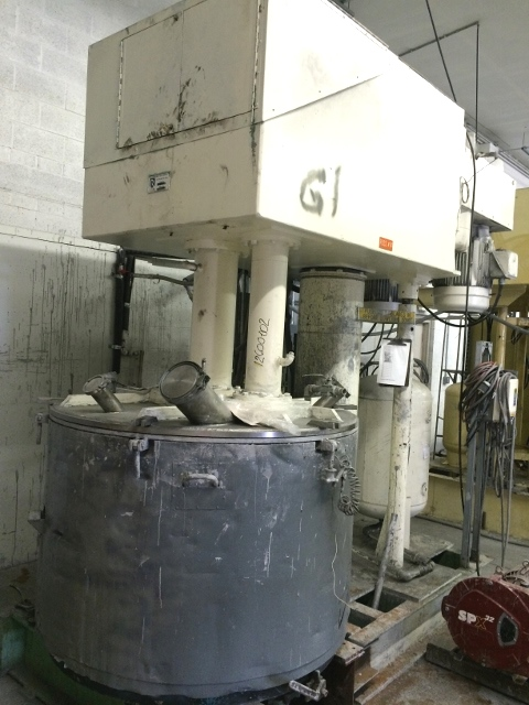 Used Ross Model PVM300 dual motion stainless steel mixer.  Mixing capacity 150 to 300 gallon. Full capacity 398 gallon.  Stainless steel jacketed change can.  Vacuum mixer.  Dual mixers including (1) three wing anchor agitator with scrapers on side and bottom of can.  (1) High Speed disperser. Mixer motors  20 Hp 3 phase 50 cycle (with Foxboro Jordan 50/60 cycle converter).  Change can is jacketed and on castors.   Hydraulic lift.
