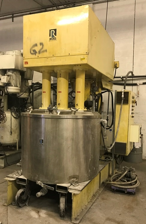Used Ross Model PVM300 Triple Motion Stainless Steel Mixer.  Mixing capacity 150 to 300 gallon. Full capacity 398 gallon.  Stainless steel jacketed change can 15 psi.  Vacuum mixer.  Triple mixers including (1) three wing anchor agitator with scrapers on side and bottom of can.  (1) High Speed disperser. (1) High shear rotor stator mixer (requires head and cage).   Mixer motors (1) 15 Hp and  (2) 30 Hp 3 phase 60 cycle 230/460 volt 1765 rpm.  Change can is jacketed and on castors.   Hydraulic lift.