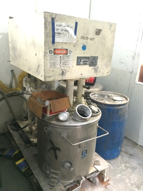 ***SOLD*** Used Ross Model PVM 40 dual motion stainless steel mixer. 40 gallon.  S/N 4075. Stainless steel jacketed change can 50 psi.  Vacuum mixer. Dual mixers including (1) three wing anchor agitator with scrapers on side and bottom of can and  (1) High Speed disperser with vari-speed drive. Rear motor is 3 HP, 208-230/460, 1745 rpm and the main drive is 5 HP, 208-230/460 volt, 1760 rpm. Change can is on castors. Can serial number 11012-1B, National board number 415.  Built 1994.   Hydraulic lift.