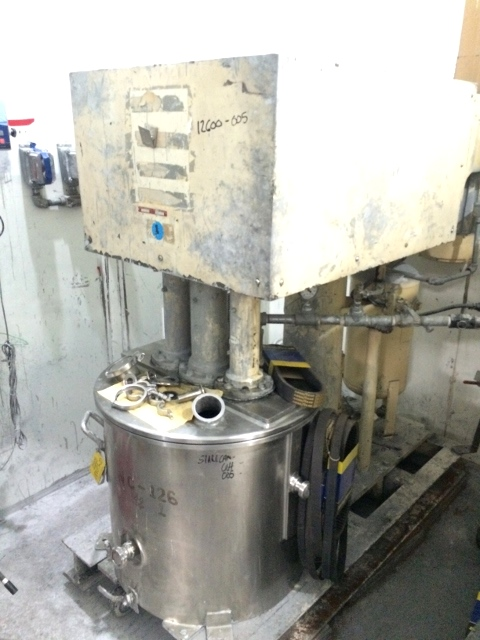Used Ross Model PVM 40 triple motion stainless steel Vacuum rated mixer.  40 gallon.  Stainless steel jacketed change can 50 psi. Tri-Shaft Vacuum mixer.  Triple mixers including (1) three wing anchor agitator with scrapers on side and bottom of can and  (2) High Speed disperser (one shaft is carbon steel, all other shafts/blades stainless steel).  Change can is castors. Can serial number 11012-1A, National board number 414.  Built 1994.   Hydraulic lift.
