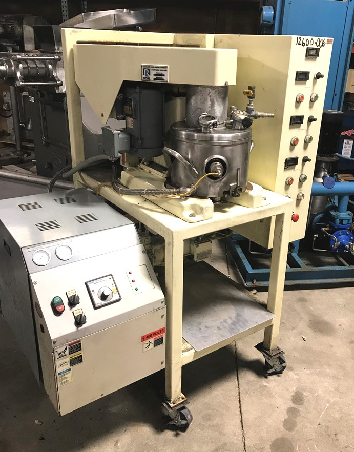 Used Ross Model PVM-2, triple motion stainless steel mixer.  2 gallon.  Stainless steel jacketed change can. Tri-Shaft Vacuum mixer.  Triple mixers including (1) 1/2 hp 3 phase 60 cycel 208-230/460 volt 1725 rpm  three wing anchor agitator with scrapers on side and bottom of can.  (1) 3/4 hp 3 phase 60 cycle 208-230/460 volt 3450 rpm High Speed disperser. (1) 3/4 hp 3 phase 60 cycle 208- 230/460 volt 3450 rpm High shear rotor stator mixer.   Mixer motors  30 Hp 3 phase 60 cycle 230/460 volt 1765 rpm.  Change can is jacketed and on castors.   Hydraulic lift.  Includes Mokon heater Model DB41109BF 3 phase 60 cycle 460 volt 9 kw.  Mounted all on mobile cart.