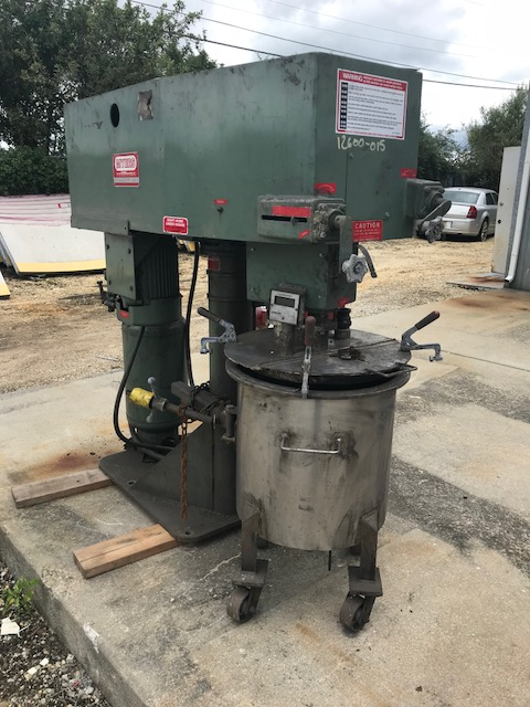 Used Approx. 25 gallon capacity Myers Double Motion change can mixer model 550A-5-5-1475.  Stainless steel contacts. Can is stainless steel and approximately 20