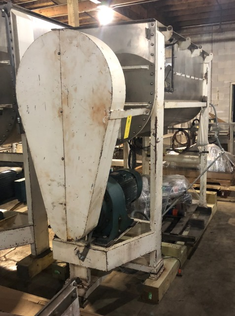 ***SOLD*** used 36 Cu.Ft. Stainless Steel Ribbon Blender.  Built by Lowe and Sons.  Model C.36.3.78.  Center bottom outlet. Has Stainless steel lid with feed chutes and Young dust collector.  Drive is 20 HP, 230/460 volt, 1755 rpm motor into gearbox with 14:1 reducer. 6