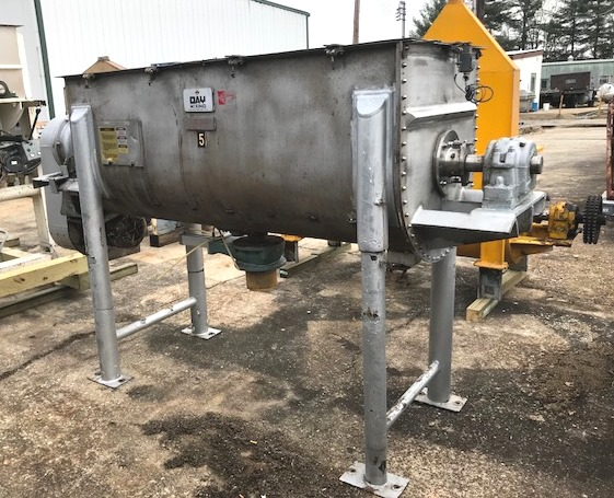 used 30 Cu.Ft. DAY Ribbon Blender.  Stainless steel construction. Trough is 30.5