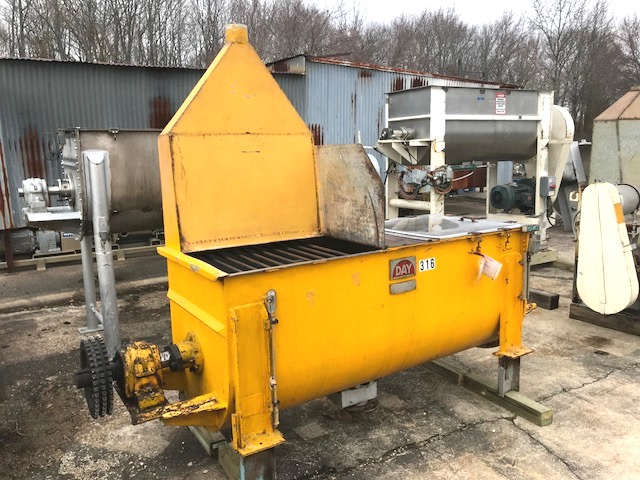 used 30 Cu.Ft. DAY Ribbon Blender.  Stainless steel construction. Trough is 30