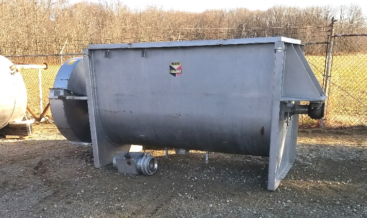 used 100 Cu.Ft. Scott Paddle Blender. Stainless Steel. Trough dimensions 4' wide X 8' Lgth X 4'6