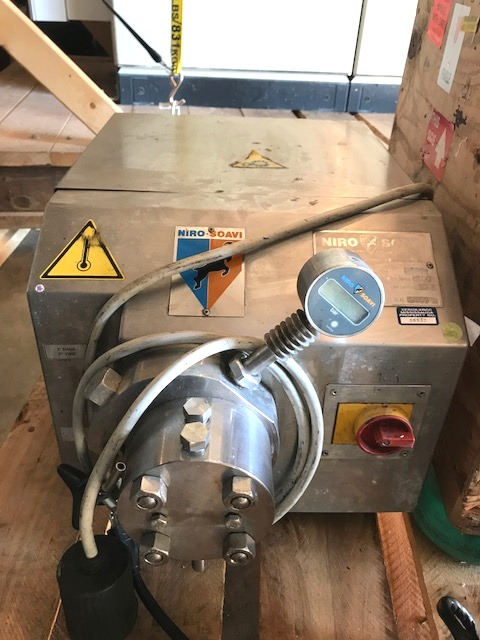 ***SOLD*** used Niro Soavi High Pressure Homogenizer. Model: PANDA. Maximum working pressure: 21755 psi(150 MPa). Standard flow rate: 2.6 gal/hr (10 l/hr). The unit operates at temperatures up to 194 Deg.F. The Panda is a high pressure homogenization unit designed for laboratory and small scale production in the pharmaceutical and biotechnological industries. Tri-clamp inlet/outlet connections. Sanitary designed and easily disassembled for manual cleaning and sterilization in place (SIP).