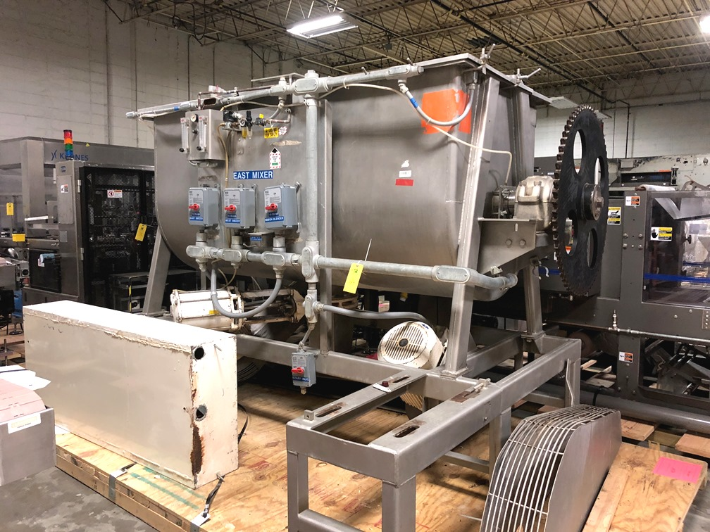(2) used 87 Cu.Ft. Bepex Ribbon Blenders with Choppers. Stainless steel. Model IMXS-87.  Trough is 8'3