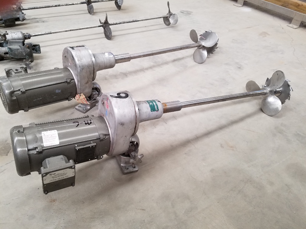 (2) MixMor clamp-on agitator/mixer. Model G-15. UL rated (explosion proof, XP).  Stainless steel shaft 1.25