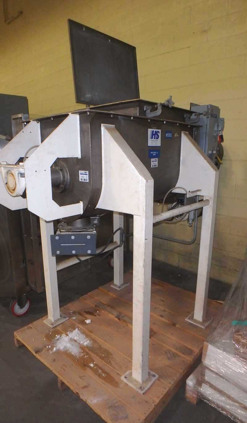 ***SOLD***used 10 Cu.Ft. Stainless Steel Ribbon Blender built by Hayes and Stolz. Model HRSS10-695. Approx. 44