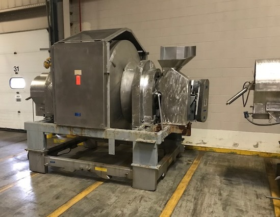***SOLD*** used Munson Rotary Batch Blender. Model 701-TSS-50.  Rated at 50 Cu.Ft. Batch volume and 105 Cu.Ft. total volume. Stainless Steel. Last used in sanitary food plant. Gear ratio 24.99:1 on gear box. Approx 7.5-10 HP Motor. (no nameplate on motor).