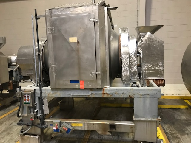 ***SOLD***used Munson Rotary Batch Blender. Model 701-TSS-50. Rated at 50 Cu.Ft. Batch volume and 105 Cu.Ft. total volume. Stainless Steel. Has gear reducer with 24.99:1 ratio. Unit is missing drive motor. Requires an Approx 7.5-10 HP Motor. Unit is also missing side door cover.  Last used in sanitary food plant.